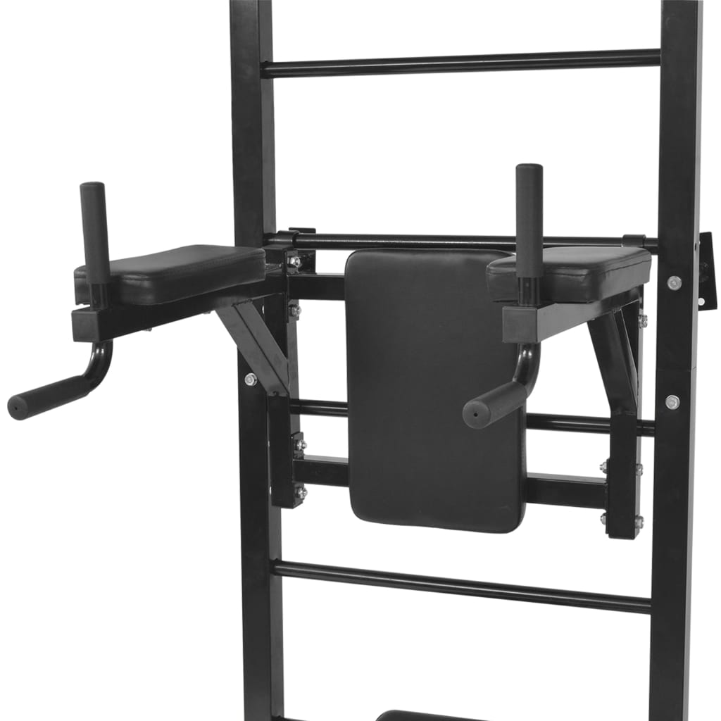 Wall-mounted Multi-functional Fitness Power Tower Black