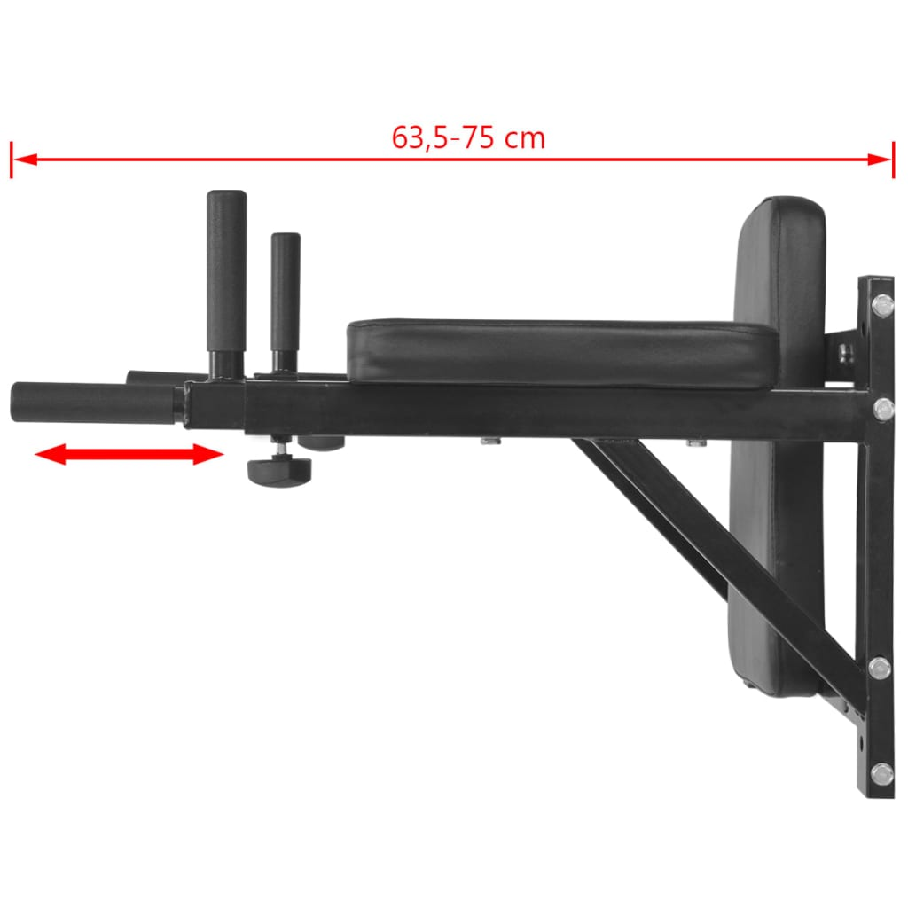 Wall-mounted Fitness Dip Station Black