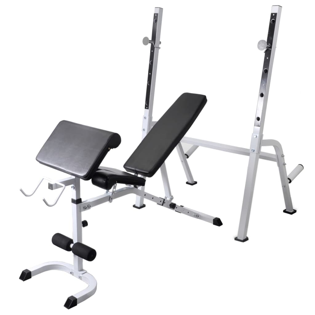 Workout Bench with Weight Rack Barbell and Dumbbell Set 60.5kg