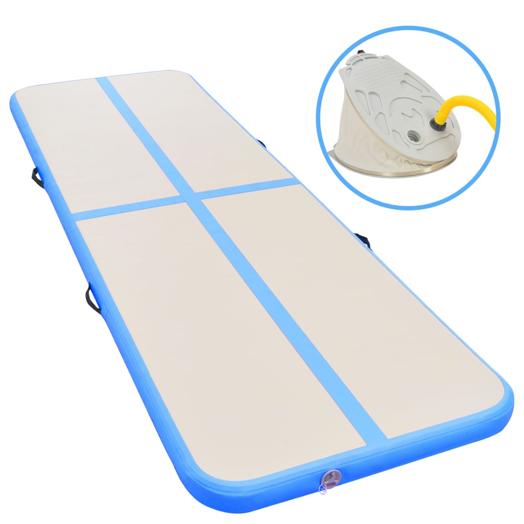Inflatable Gymnastics Mat with Pump 300x100x10 cm PVC Blue