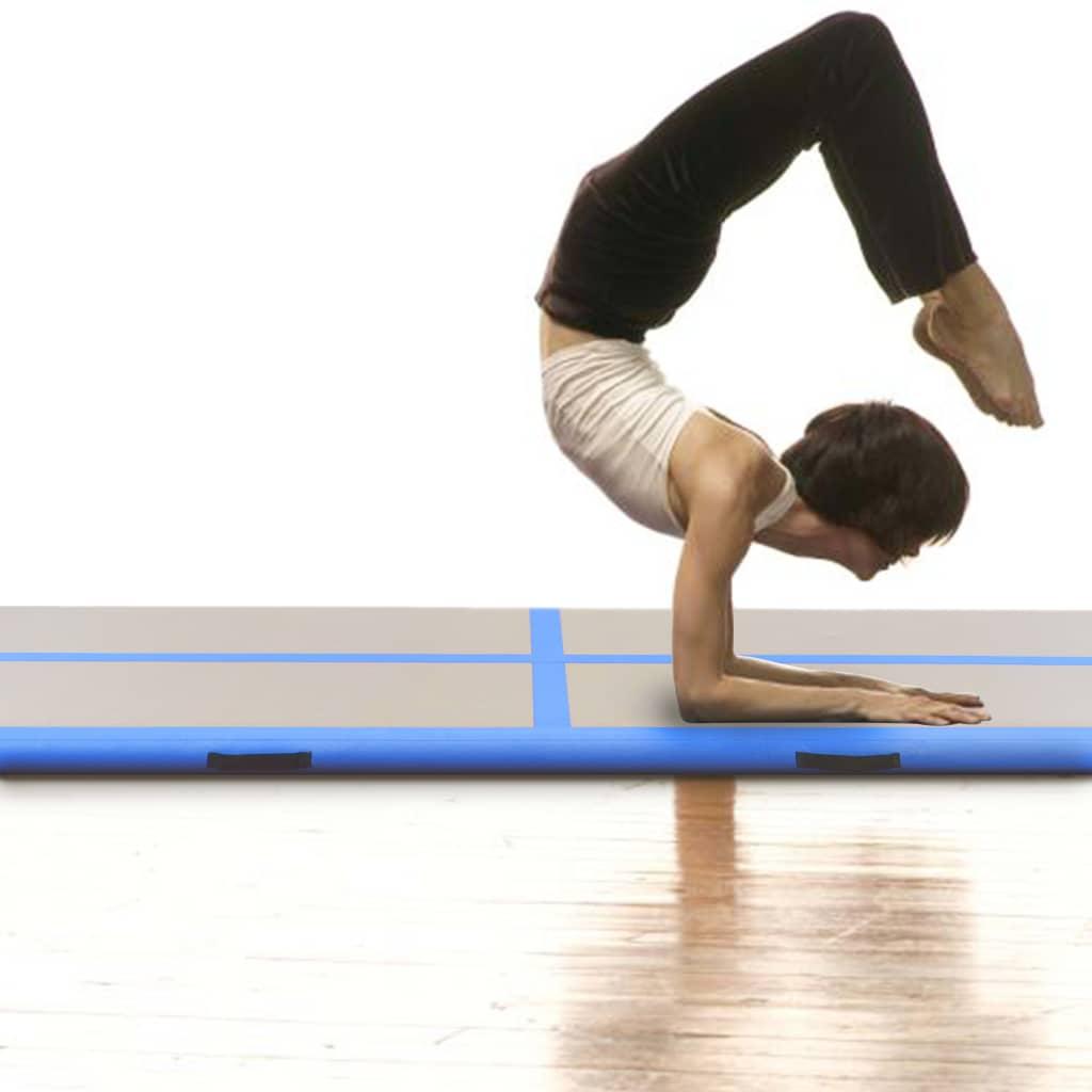 Inflatable Gymnastics Mat with Pump 300x100x10 cm PVC Blue