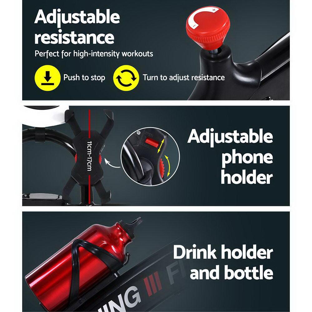 Spin Exercise Bike Flywheel Fitness Commercial Home Workout Gym Machine Bonus Phone Holder Black